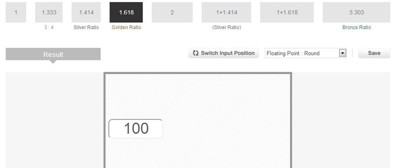 黄金比などをオンラインで簡単に算出できるツール - Metallic Ratio
